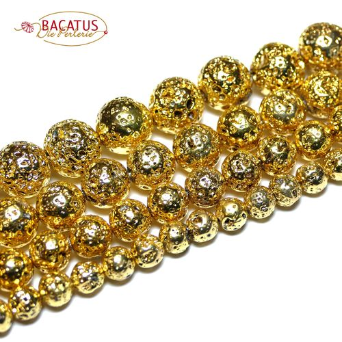 Lava plain rounds plated gold 6 - 12 mm, 1 Strand