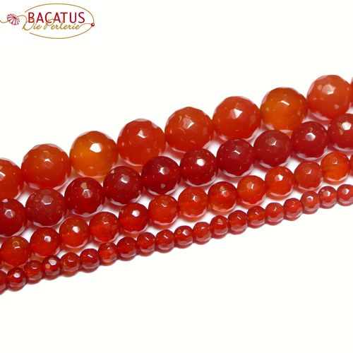 Agate faceted plain rounds orange red 4 - 10 mm, 1 Strand