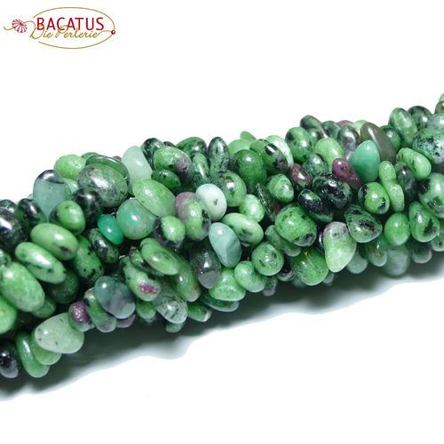 Ruby Zoisite nuggets green black rose 5 x 8 mm, 1 Strand