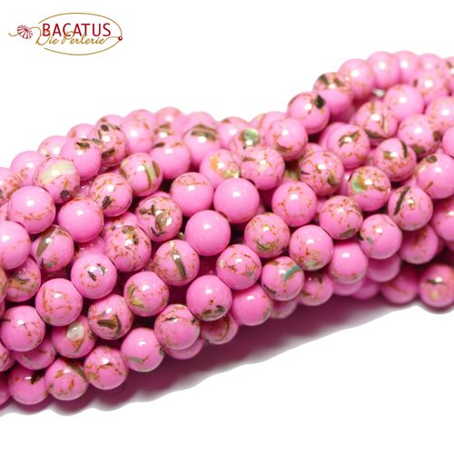 Jade plain rounds pink 4 - 12 mm, 1 Strand