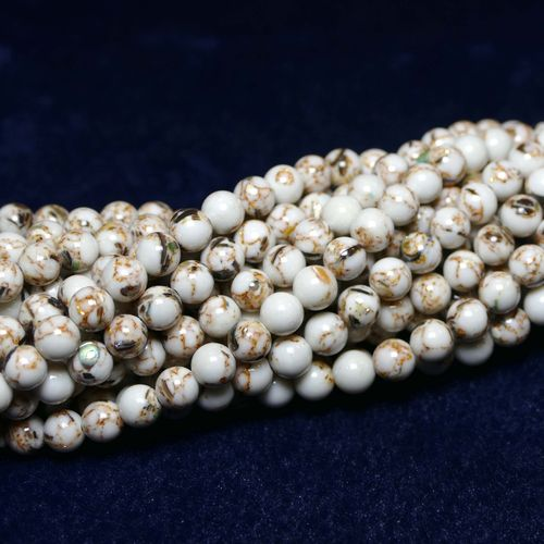 Jade plain rounds white 4 - 12 mm, 1 Strand