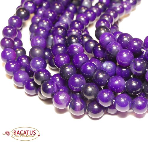 Agate plain rounds purple 10 mm, 1 Strand