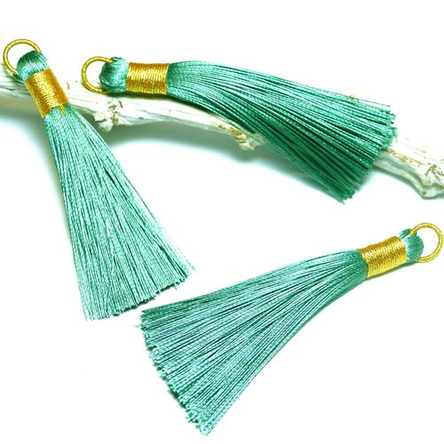 Tassel turquoise - green gold 75 mm, 1 x