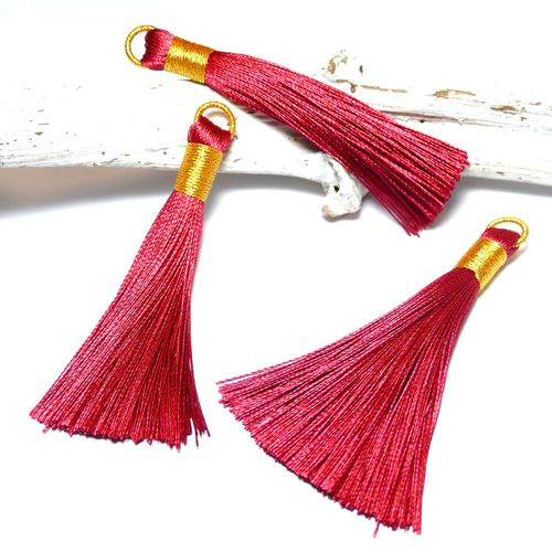 Quaste Tassel rot gold 75 mm, 1 x