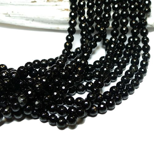 Tourmaline plain rounds faceted black 4 - 6 mm, 1 Strand