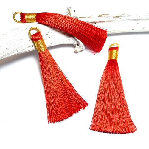 Quaste Tassel hell rot gold 75 mm, 1 x
