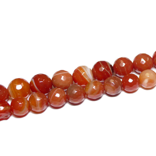 Agate Stripe red faceted plain rounds 10 - 12 mm, 1 Strand