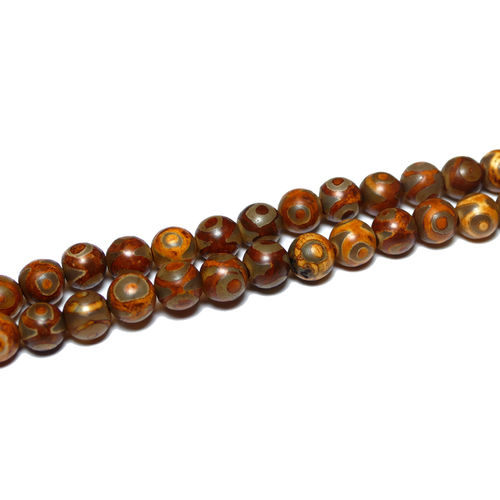 Agate plain rounds with three eye 8 mm, 1 Strand