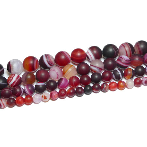Stripe Agate plain rounds matte red 6 - 12 mm, 1 Strand