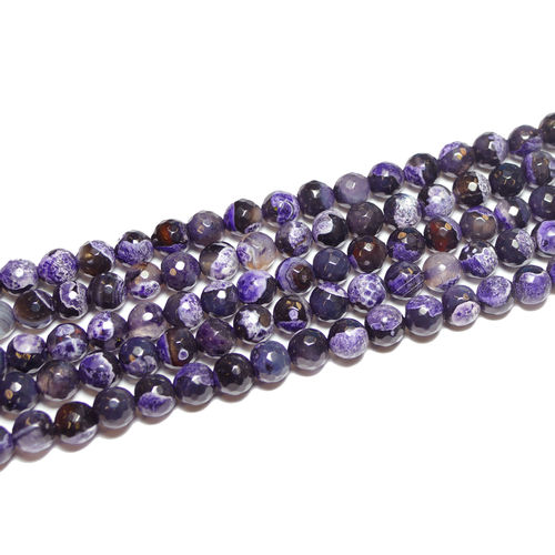 Agate faceted rounds purple black 8 - 12 mm, 1 Strand