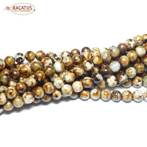 Leopard Agate plain rounds 8 mm, 1 Strand