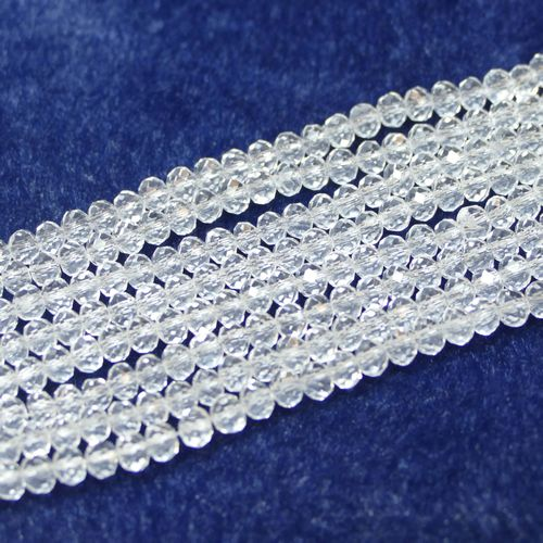 Crystal beads rondelles faceted white 3 x 4 mm, 1 Strand