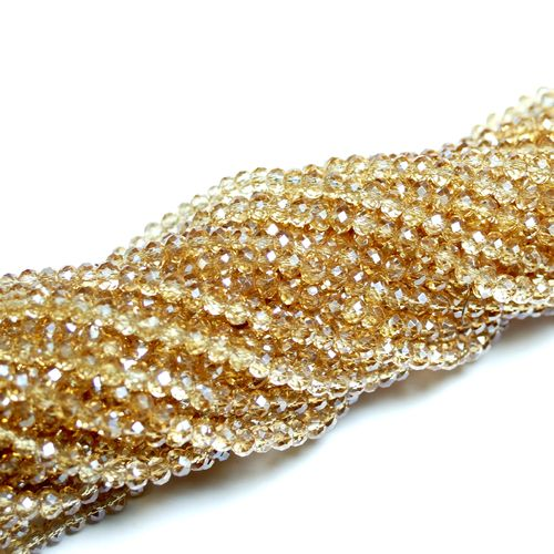 Crystal beads rondelles faceted light-brown-metallic 3 x 4 mm, 1 Strand