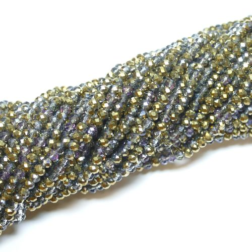 Crystal beads rondelles faceted grey-gold-metallic 3 x 4 mm, 1 Strand