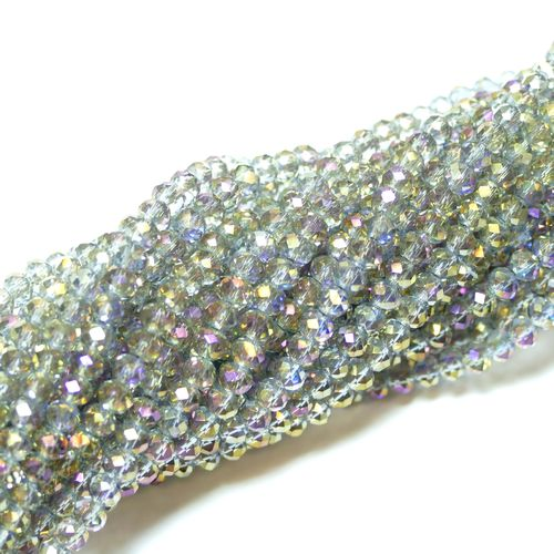 Crystal beads rondelles faceted grey-gold-AB 3 x 4 mm, 1 Strand