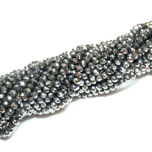 Crystal beads rondelles faceted dark-grey-metallic 3 x 4 mm, 1 Strand