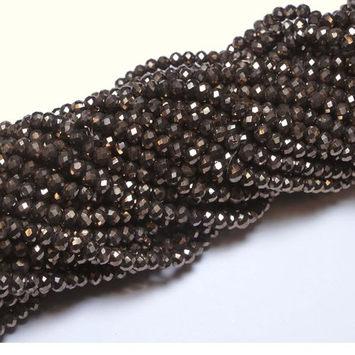 Crystal beads rondelles faceted dark-bronze-metallic 3 x 4 mm, 1 Strand