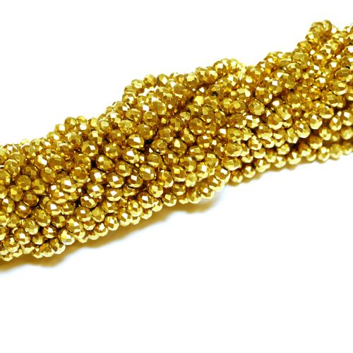 Crystal beads rondelles faceted dark-gold 3 x 4 mm, 1 Strand