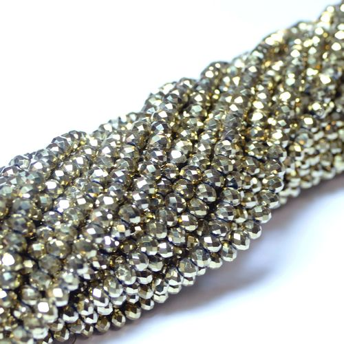 Crystal beads rondelles faceted light-gold 3 x 4 mm, 1 Strand