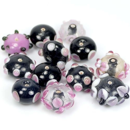 Lampworkbeads black - lilac - mix 18x12mm, 10 Pieces