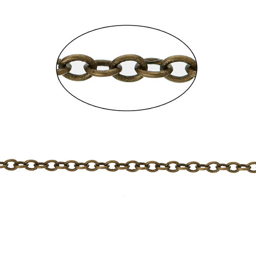 Gliederkette Kette Metall Messing 2x1,5mm 5 Meter