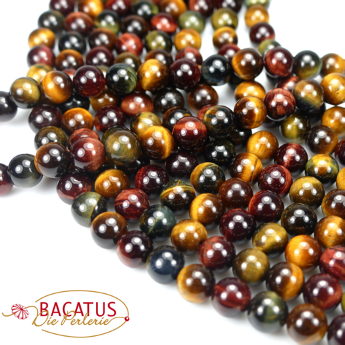 Tiger eye plain rounds colorful 8 mm, 1 strand