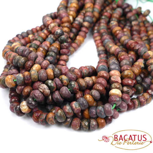 Picasso Jasper faceted rondelles 5 x 8 mm, 1 strand