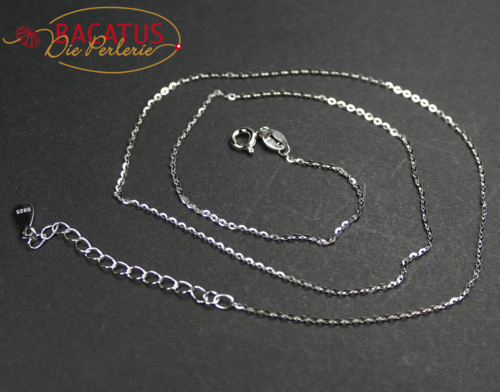 925 silver sterling flat oval chain necklace approx 1,0 mm, 1 piece