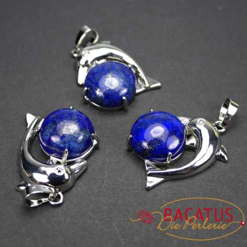 Lapis lazuli pendant with dolphin approx 22x25 mm, 1 piece