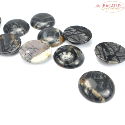 Picasso Jasper Cabochon black 30 mm, 1 piece