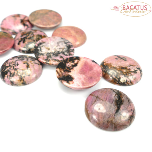 Rhodonite Cabochon 30 mm, 1 piece