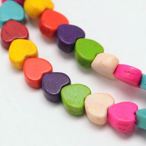 "Stone bead ""heart"" colorful mix 5x6x3mm 1 strand"